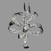 Art Deco Vintage Diamond Platinum Bow Pendant