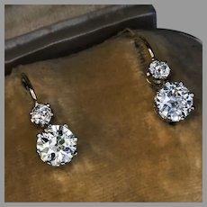 Antique Two Stone Diamond Platinum Gold Earrings