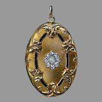 Large Belle Epoque Antique Jeweled Gold Pendant Locket