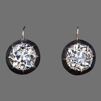 Rare 5.47 Ct Old European Cut Diamond Solitaire Earrings