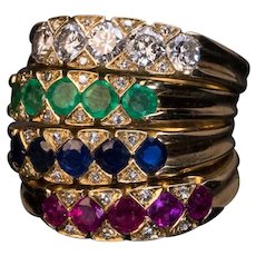 Set of 4 Stackable Gemstone Gold Rings