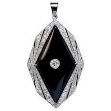 Art Deco Vintage Onyx Diamond Platinum Pendant
