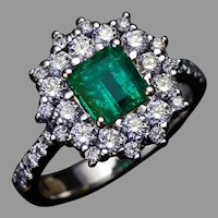 Vintage Emerald Diamond Cluster Engagement Ring