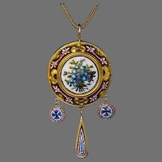 Antique 19th Century Micro Mosaic Gold Necklace