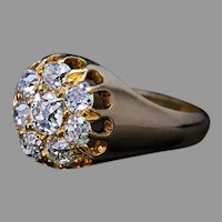 Antique 1.40 Ct Old Mine Cut Diamond Cluster Ring