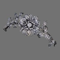 Antique French 'En tremblant' Diamond Flower Brooch