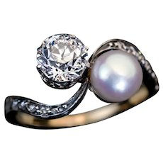 Antique Diamond Pearl Crossover Engagement Ring