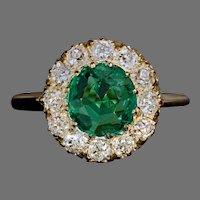 Antique Old Mine Cut Emerald Diamond Ring