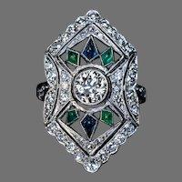 Art Deco Vintage Diamond Sapphire Emerald Platinum Ring