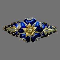 Antique Blue Enamel Diamond Gold Bangle Bracelet