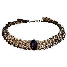 Antique Bohemian Garnet Textured Gold Bracelet