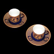 Cobalt Blue demitasse cup and saucer set. (2)