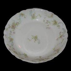 Haviland-Limoges bowl . Pink roses and green ferns.