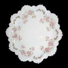 Hapsburg China plate ,, Austria , Ruffles and pink roses