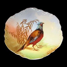 Coronet, Limoges, Pheasant plate, signed