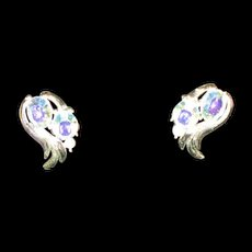 Coro earrings  Clip-on Irridescent blue stones