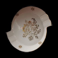 Limoges ashtray Gold and White flowers