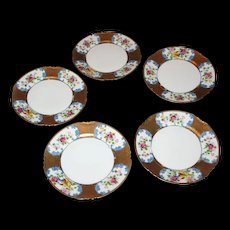 5 Noritake cake plates. Handpainted  Colorful bird and flowers