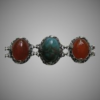Egyptian Revival Carved Scarab Silver Bracelet