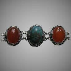 Egyptian Revival Carved Scarab Silver Bracelet