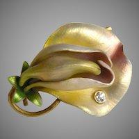 Art Nouveau Krementz Enameled Sweet Pea Diamond 14k Brooch