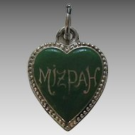 Antique Enameled Mizpah Sterling Heart Charm
