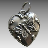 "Vintage Butterfly ""Bennie"" Sterling Heart Charm"
