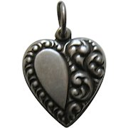 "Vintage Half Scroll ""Grand Dad"" Sterling Heart Charm"