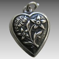 """Vintage Forget-Me-Not """"Grace"""" Sterling Heart Charm"""
