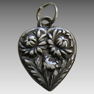 Vintage Flower of the Month November Chrysanthemum Sterling Heart Charm