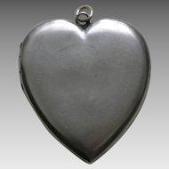 Victorian Large Sterling Heart Locket