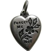 """Vintage Forget-Me-Not """"Lois"""" Sterling Heart Charm"""