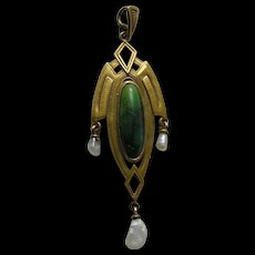 Arts and Crafts Wordley Allsopp & Bliss Turquoise Pearl 14k Pendant