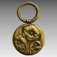 Art Nouveau Poppy 10k Fob Pendant