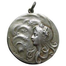 "Art Nouveau Felix Rasumny ""Night"" 800 Silver Chatelaine Slide Mirror"