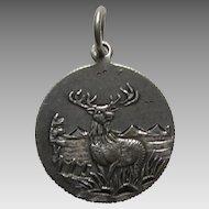 "Antique Stag/Deer ""EN"" Coin Silver Love Token Charm"