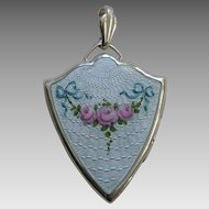 Art Deco Enameled Pink Roses Sterling Locket