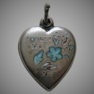 "Vintage Turquoise Enameled Forget-Me-Not-Sterling ""Jimmy"" Heart Charm"