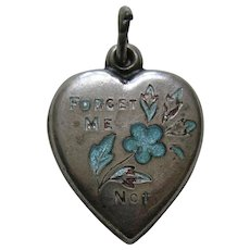 """Vintage Turquoise Enameled Forget-Me-Not-Sterling """"Jimmy"""" Heart Charm"""