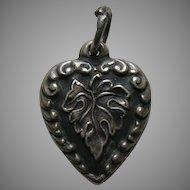 """Vintage Leaf """"Aunt Cora"""" Sterling Heart Charm"""