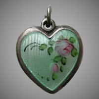 Walter Lampl Enameled Pink Roses Sterling Heart Charm