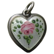 "Walter Lampl Enameled Pink Rose ""Julie"" Sterling Heart Charm"