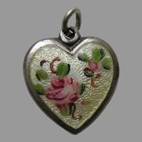 "Walter Lampl Enameled Pink Roses ""Aunt Gen"" Sterling Heart Charm"