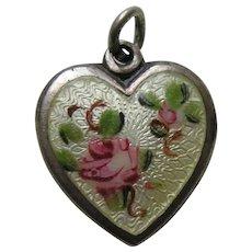 "Walter Lampl Enameled Pink Roses ""Aunt Gen"" Sterling Heart Charm"