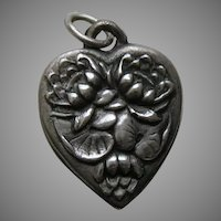 Vintage Flower of the Month July Water Lily Sterling Heart Charm