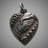 Vintage Friendship/Handshake Sterling Heart Charm