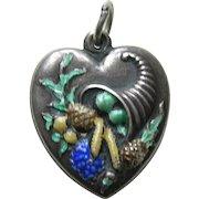Vintage Enameled Cornucopia Large Sterling Heart Charm