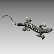 Vintage European Marcasite Emerald Paste Lizard Large 835 Silver Brooch