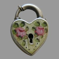 "Walter Lampl Enameled Pink Roses ""Georgia & Dorothy"" Sterling Heart Lock"