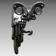 Antonio Owl Moonstone Sterling Brooch